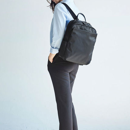 Unisex Nylon Street Style A4 Plain Leather Backpacks