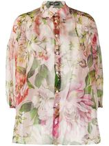 Dolce & Gabbana Flower Patterns Silk Cropped Shirts & Blouses