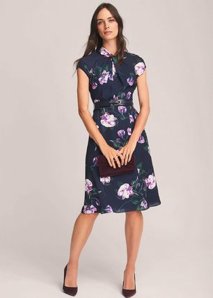 Flower Patterns Flared Medium Short Sleeves Party Style