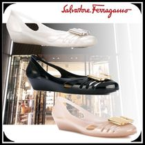 Salvatore Ferragamo Round Toe Casual Style Blended Fabrics Street Style Plain