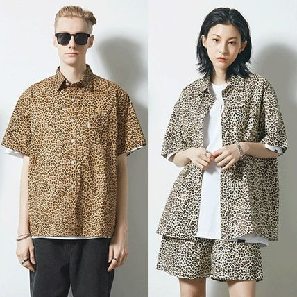 Leopard Patterns Unisex Street Style Cotton Short Sleeves