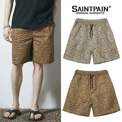 Printed Pants Leopard Patterns Unisex Street Style Cotton