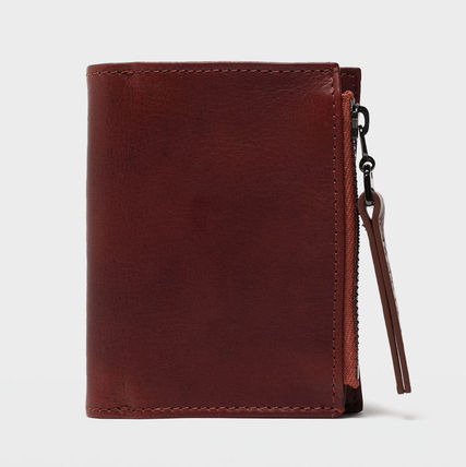 Unisex Calfskin Plain Leather Folding Wallet Logo
