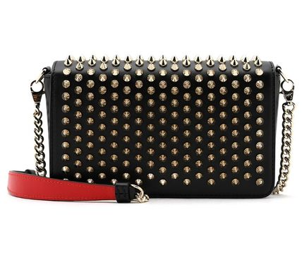Studded 2WAY Chain Leather Elegant Style Logo Shoulder Bags