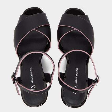 Open Toe Casual Style Blended Fabrics Plain Mules Logo