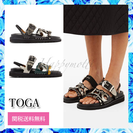 Open Toe Casual Style Street Style Bi-color Leather