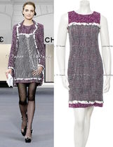 CHANEL TIMELESS CLASSICS CHANEL Purple White Tweed Dress Coat F38 F40