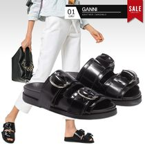 Ganni Open Toe Round Toe Casual Style Plain Leather Sport Sandals