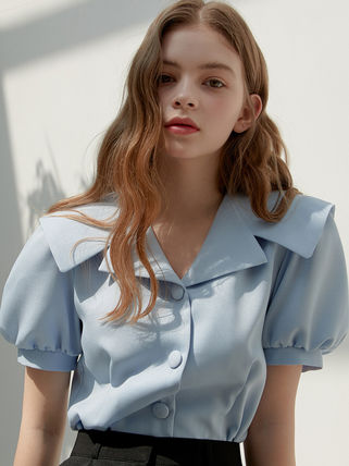 Short Short Sleeves Puff Sleeves Cropped
