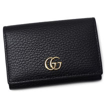 GUCCI GG Marmont Unisex Street Style Leather Folding Wallet Logo Card Holders