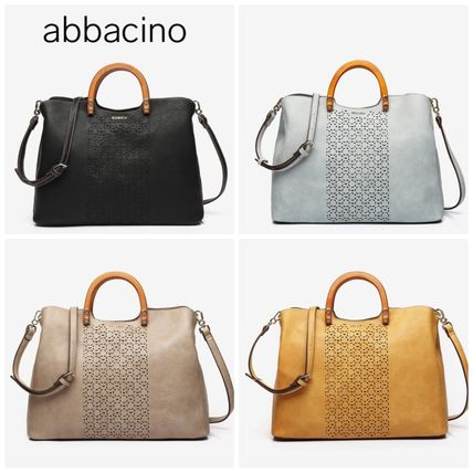 Casual Style Leather Office Style Elegant Style Logo Totes