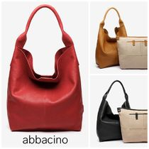 Abbacino Casual Style Leather Office Style Elegant Style Logo Totes