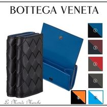 BOTTEGA VENETA Calfskin Blended Fabrics Plain Leather Folding Wallet Logo