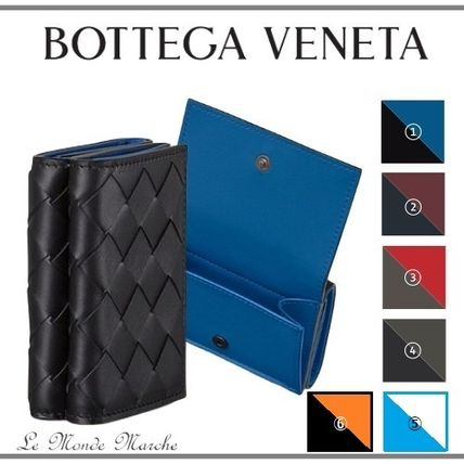 BOTTEGA VENETA Folding Wallet Logo Calfskin Blended Fabrics Plain Leather