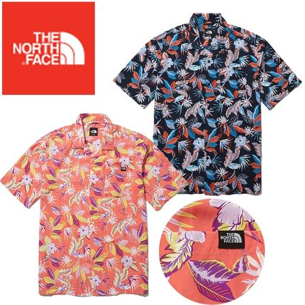 THE NORTH FACE Shirts Flower Patterns Short Sleeves Logo Outdoor Shirts