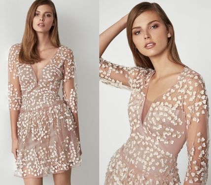 Short Flower Patterns Casual Style Cropped Party Style Lace