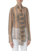Burberry Stripes Casual Style Silk Long Sleeves Office Style