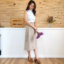 Flared Skirts Casual Style Plain Medium Midi Elegant Style