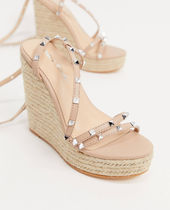 PUBLIC DESIRE Open Toe Platform Studded Plain Platform & Wedge Sandals