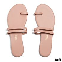 TKEES Open Toe Rubber Sole Casual Style Plain Leather