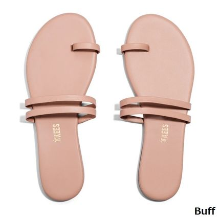 Open Toe Rubber Sole Casual Style Plain Leather
