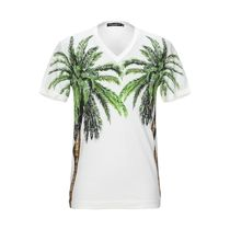 Dolce & Gabbana Pullovers Tropical Patterns V-Neck Plain Cotton