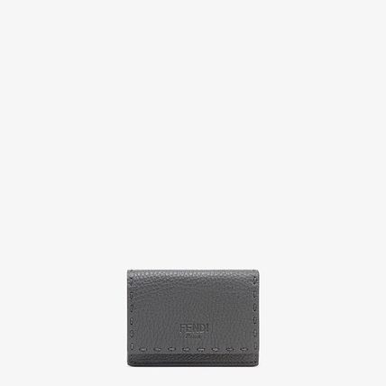 FENDI SELLERIA Street Style Plain Leather Folding Wallet Small Wallet Logo