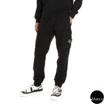 STONE ISLAND Plain Cotton Logo Military Joggers & Sweatpants