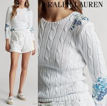 Ralph Lauren Crew Neck Cable Knit Flower Patterns Casual Style Rib