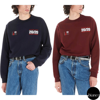 Crew Neck Pullovers Unisex Sweat Long Sleeves Cotton Bold