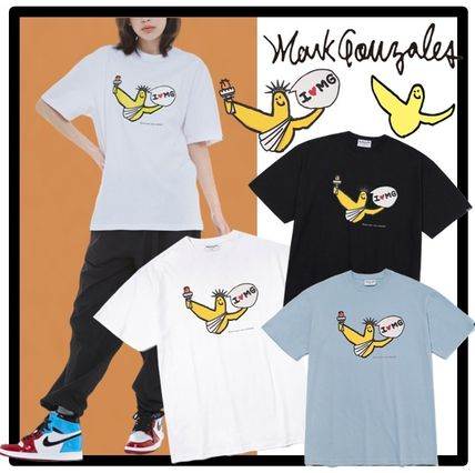 Mark Gonzales Unisex Short Sleeves Street Style T-Shirts