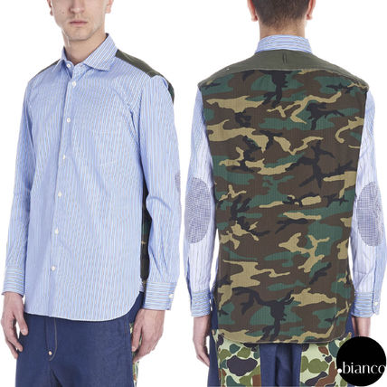 Stripes Camouflage Long Sleeves Cotton Military Shirts
