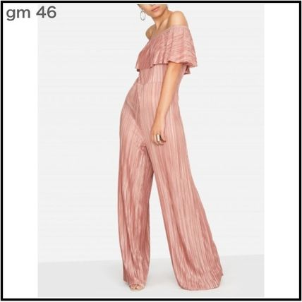Dungarees Casual Style Plain Long Party Style Elegant Style