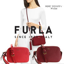 FURLA MIMI Casual Style Vanity Bags Plain Leather Party Style