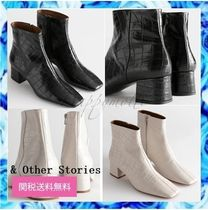 & Other Stories Other Plaid Patterns Square Toe Casual Style Plain Leather