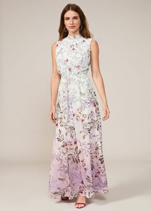 Flower Patterns Sleeveless Long Party Style Dresses