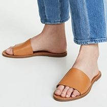 Ron Herman Open Toe Rubber Sole Casual Style Plain Leather