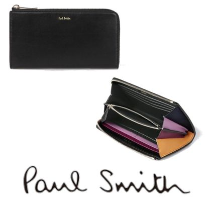 Paul Smith Long Wallet  Logo Leather Long Wallets