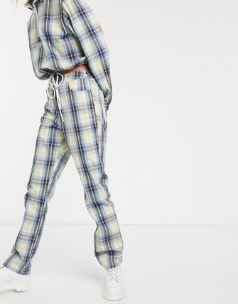 Tartan Casual Style Street Style Long Sleeves Co-ord Dresses