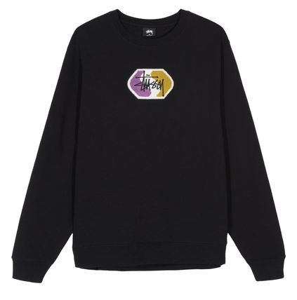 STUSSY Sweatshirts Crew Neck Pullovers Street Style Long Sleeves Plain Cotton 2