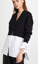 Alexander Wang Cable Knit Casual Style Long Sleeves Plain Cotton Long
