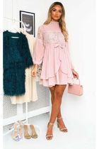 Little Mistress Short Long Sleeves Party Style High-Neck Lace Dresses