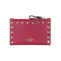 VALENTINO Unisex Studded Folding Wallet Small Wallet Card Holders
