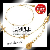 TEMPLE OF THE SUN Casual Style Handmade 18K Gold Anklets