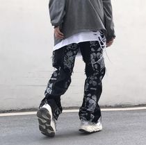 More Jeans Printed Pants Paisley Denim Street Style Plain Cotton 9