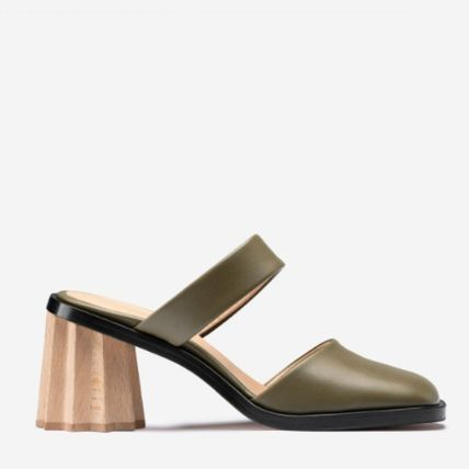 Square Toe Casual Style Plain Leather Block Heels Mules