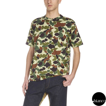 Crew Neck Camouflage Cotton Short Sleeves Military