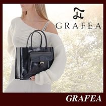 GRAFEA Casual Style Plain Leather Office Style Elegant Style
