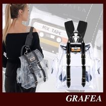GRAFEA Casual Style Plain Leather Crystal Clear Bags PVC Clothing