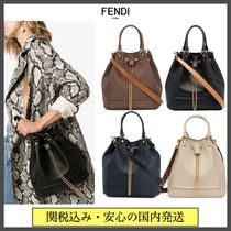FENDI KARLIGRAPHY Casual Style 2WAY Chain Plain Leather Party Style Purses